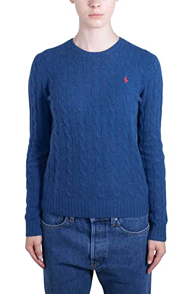 POLO RALPH LAUREN Women - Light blue blend knit Cashmere crewneck sweater - Size XS: Amazon.es: Ropa y accesorios