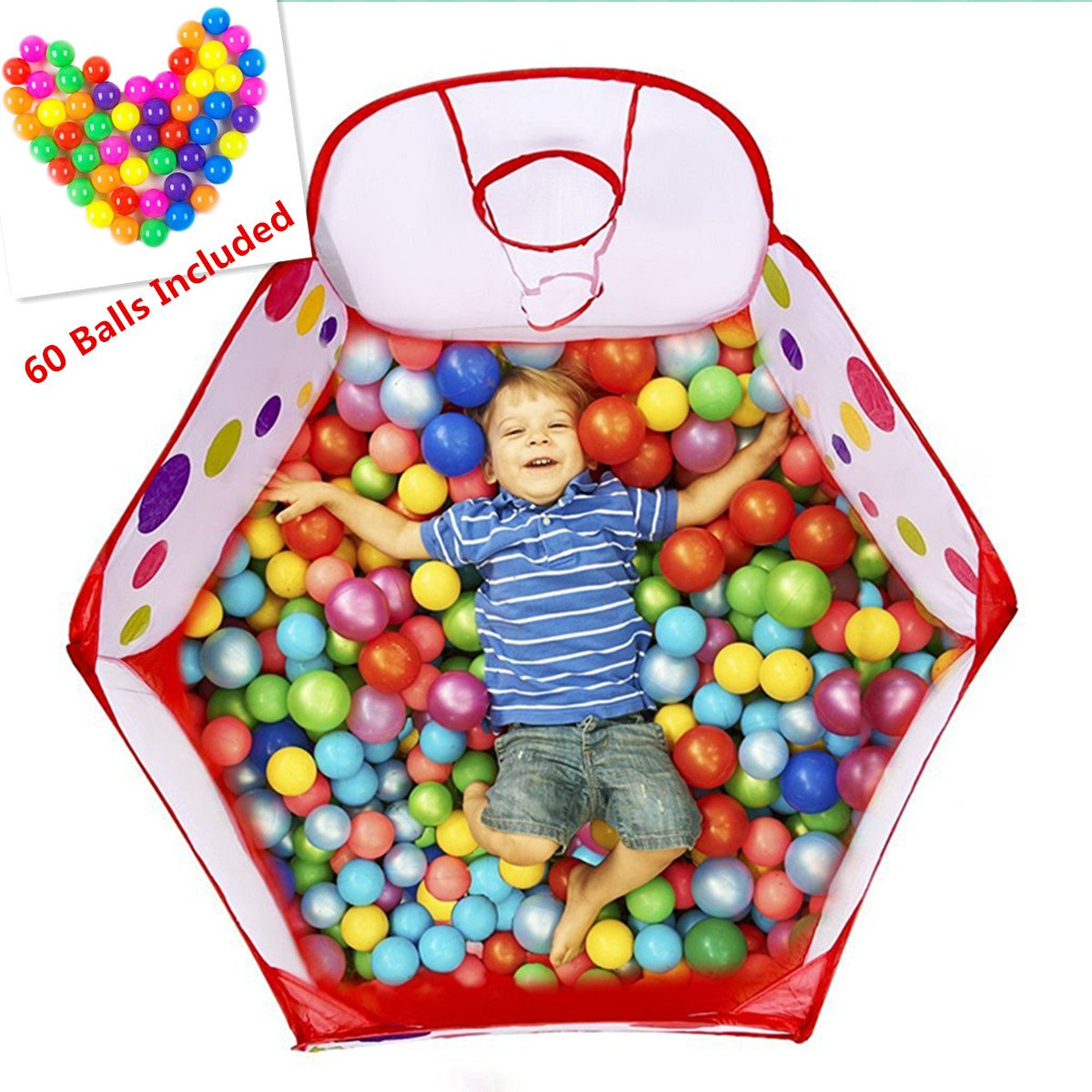 A-cool Foldable Children Toddlers Ball Pit Tent Sea Ball Pool Toy with Basketball Hoop and Zippered Storage Bag by, 4 Ft/120cm (✿✿ 60 Balls Included ✿✿) 4 Ft/120cm (✿✿ 60 Balls Included ✿✿)