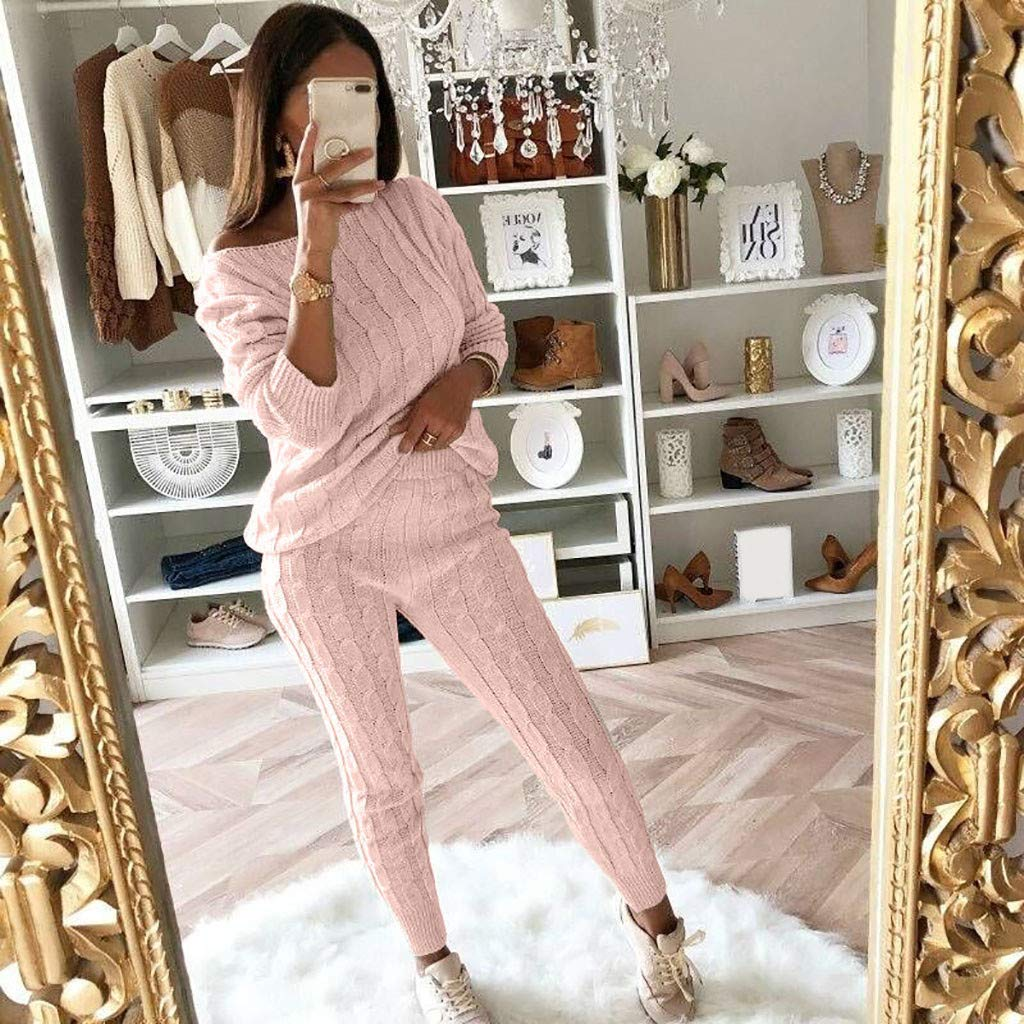 Clearance Sunfei Womens Ladies Solid Off Shoulder Cable Knitted Warm 2PC Loungewear Suit Set