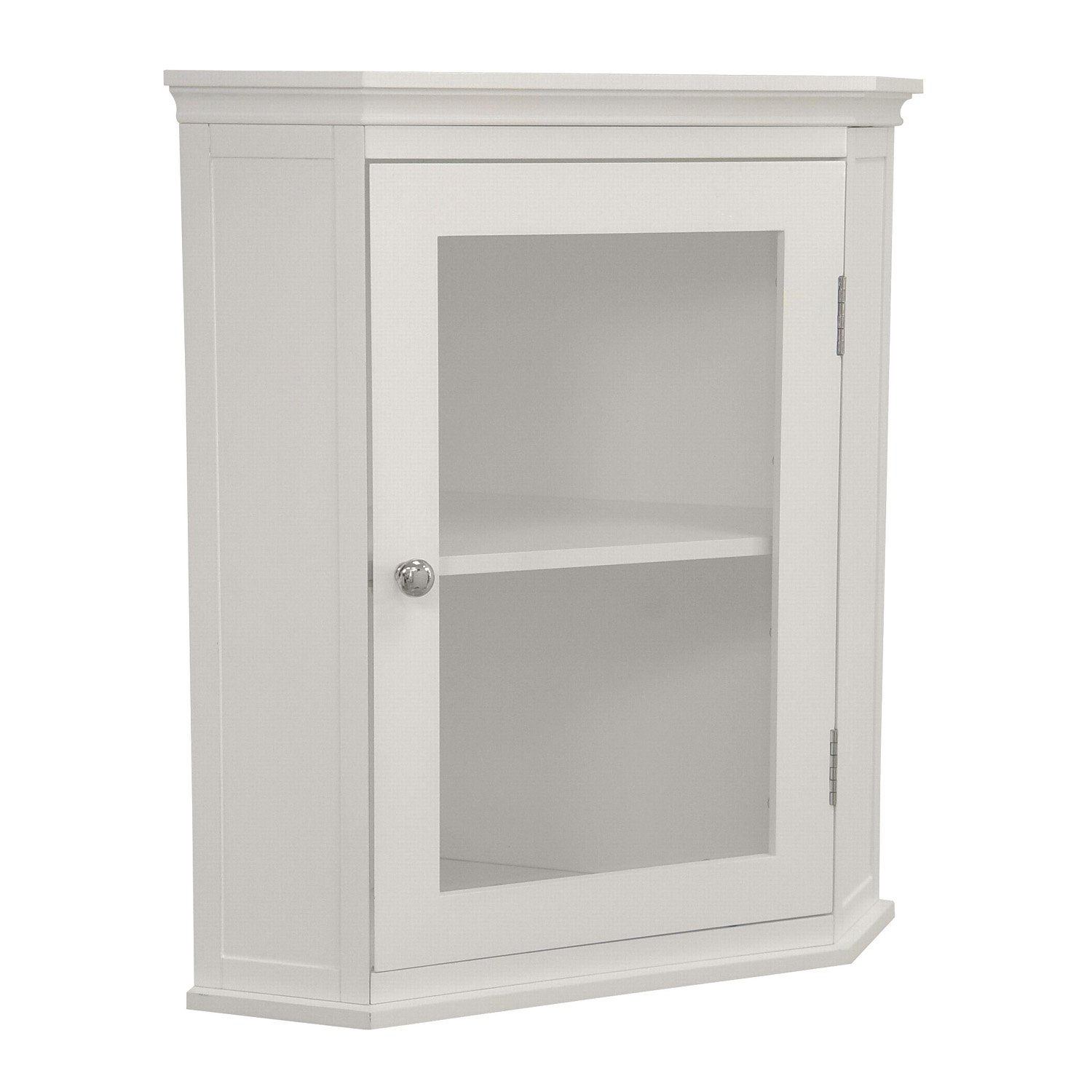 Amazon Com Elegant Home Fashions Madison Collection Shelved Corner Wall Cabinet White Kitchen Dining