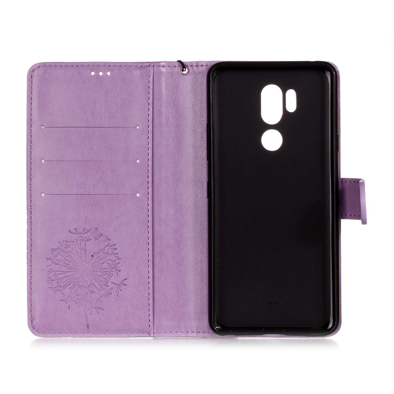 Shinyzone Protective Phone Case for LG G7,LG G7 ThinQ Case Embossed Butterfly Dandelion Pattern Series,Magnetic Stand Cover with Card Slots Leather Wallet Flip Case-Purple by Shinyzone (Image #4)