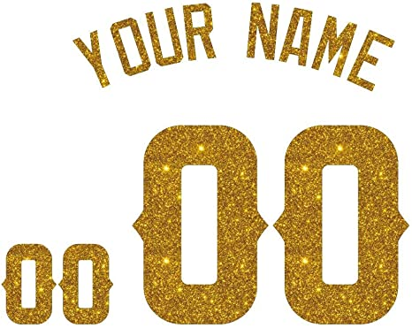 Gold Metallic Iron-On T-Shirt Transfer Clothing Vinyl Letters Numbers Text