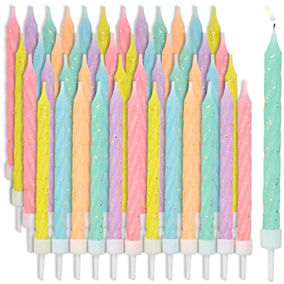 Multicolored Pastel Thin Birthday Cake Candles in Holders (3 in, 48 Pack): Health & Personal Care