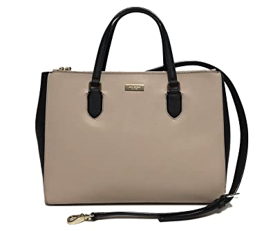 Amazon.com  Kate Spade WKRU4387 Leighann Laurel Way Leather Satchel  almond black Handbag  Shoes 05b83726f4b27