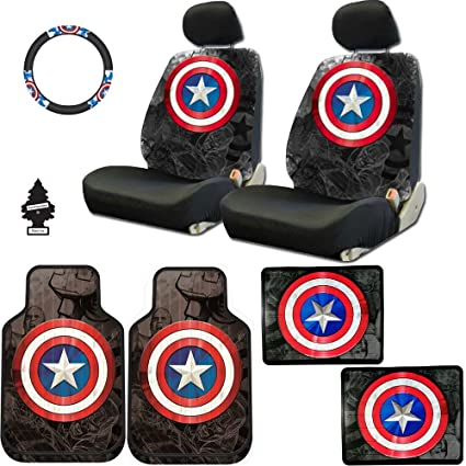 New Design 10 Pieces Marvel Comic Captain America Car Seat Covers Floor Mats And Steering Wheel