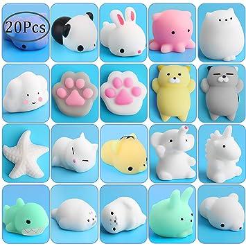 Outee Squishy Animals Toys, 20 Piezas Mochi Squishy Cat Toy Mochi Squeeze Squishy Kawaii Cat Squishy Mochi Toy Alivio de Estrés Juguetes de Animales Kawaii ...