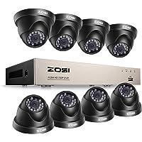 ZOSI CCTV Kit de Cámaras de Seguridad 720P Sistema de Vigilancia 8CH HD Grabador DVR + (8) Cámara de Vigilancia Exterior, sin Disco Duro, Detección de Movimiento, Acceso Remoto