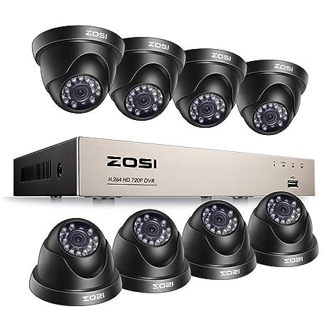 ZOSI CCTV Kit de Cámaras de Seguridad 720P Sistema de Vigilancia 8CH HD Grabador DVR + (8) Cámara de Vigilancia Exterior, sin Disco Duro, Detección de ...