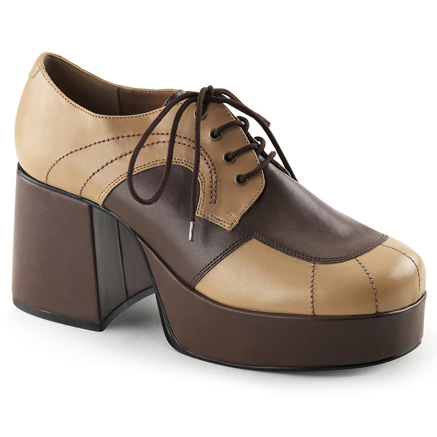 Amazon.com: Mens Brown and Tan Retro Shoes with 3.5 Inch Heels and ...