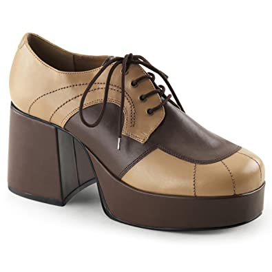 3db9c3215468c Summitfashions Mens Brown and Tan Retro Shoes with 3.5 Inch Heels and 1.5  Inch Platform Size