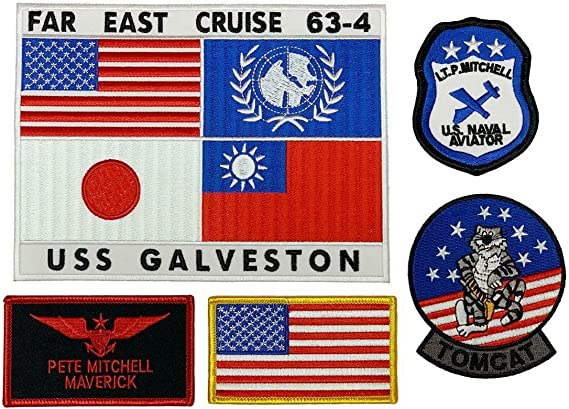 Police Army Airborne Sun /& Moon Top Gun Sew Iron On Patch Embroidered