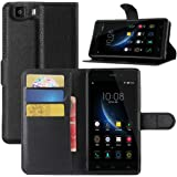 Doogee X5 Case, Doogee X5 Pro Case, HualuBro [Kickstand] Premium PU Leather Wallet Flip Phone Case Cover with Stand Card Holder for Doogee X5 / X5C / X5S / Doogee X5 Pro Smartphone (Black)