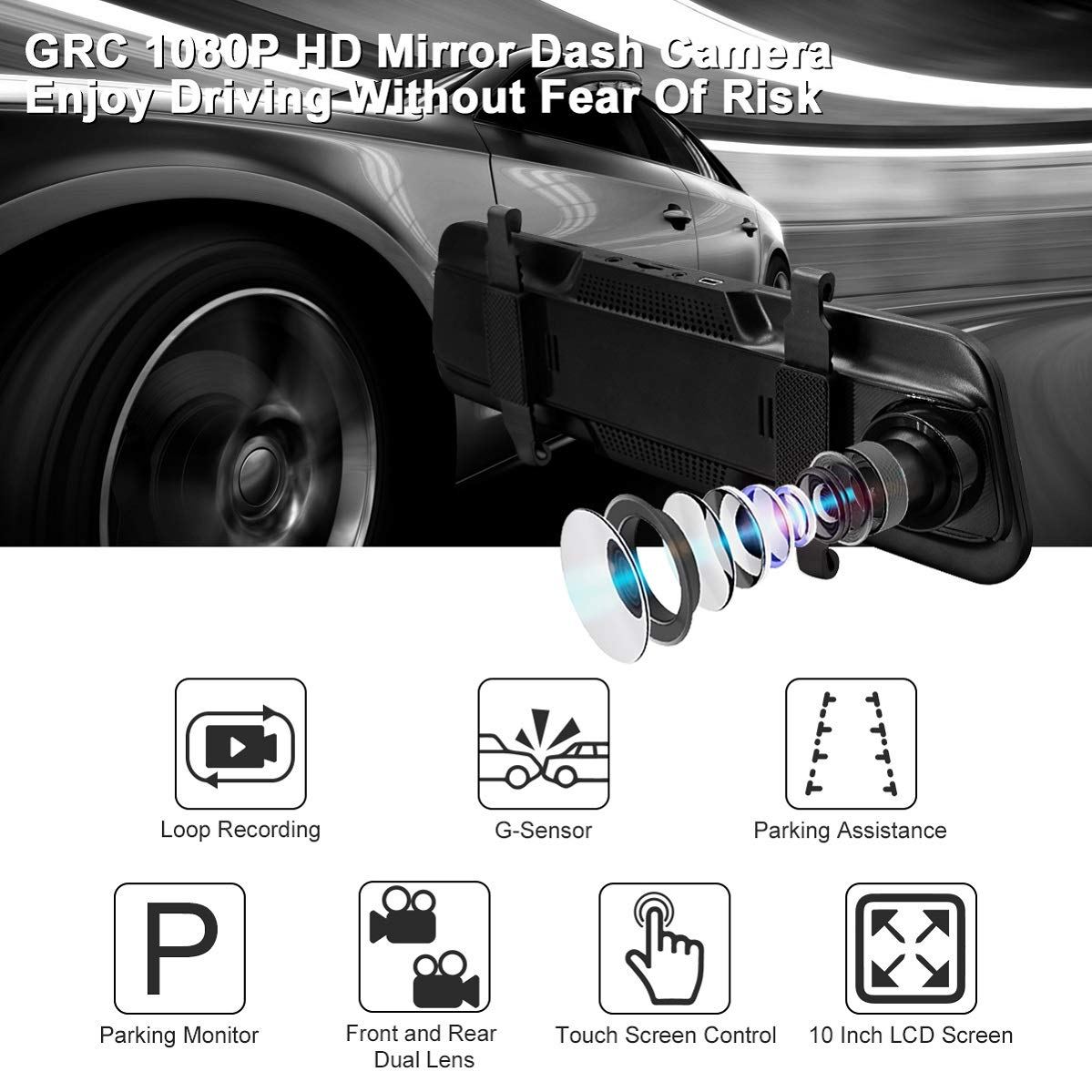 Rear View Front and Rear Dual Lens with Loop Record 10Inch 1080P HD Mirror Dash Camera G-Sensor Parking Monitor Backup Camera Touch Screen GRC 1080P Waterproof Reversing Assistance Camera