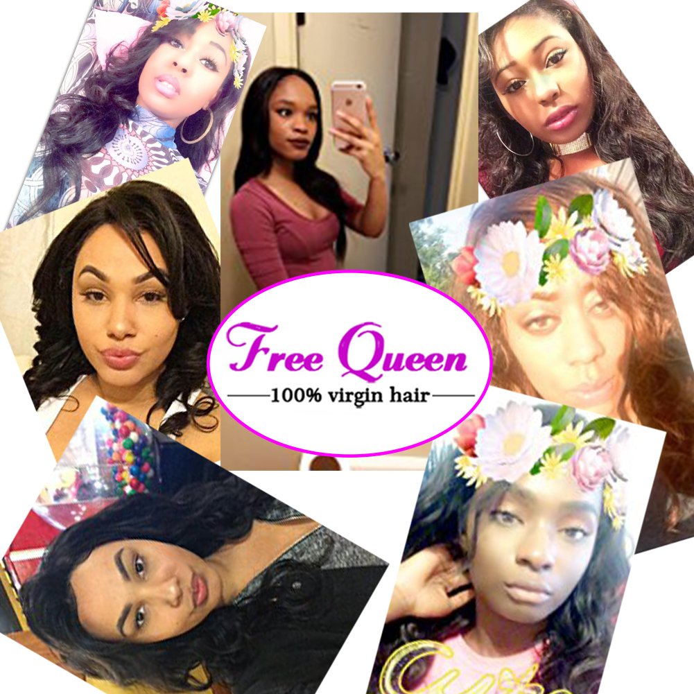 360 Lace Frontal with Bundles Pre Plucked 8A Brazilian Virgin Hair Body Wave 3 Bundles with Closure Bady Hair 100% Unprocessed Human HairExtensions Natural Color(14 16 18+12 360Frontal) by Free Queen (Image #7)