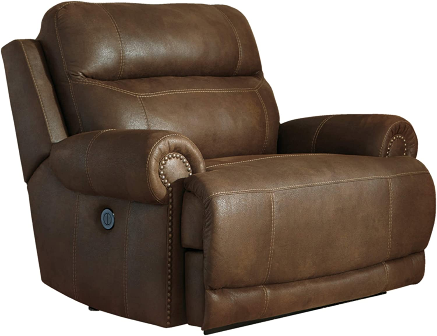 Signature Design by Ashley - Austere Contemporary Faux Leather Oversized Zero Wall Power Recliner, Brown