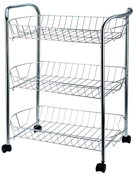 Vetrineinrete® Carrito de Cocina de Metal 3 estantes Huecos con Ruedas 50,5 x 27 x 61,5 cm Carrito para Frutas y Verduras E4: Amazon.es: Hogar