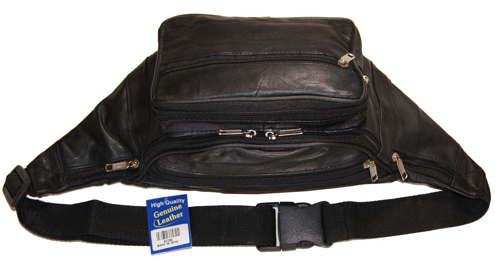 Genuine Leather Jumbo Sized Seven Zippered Pouch Fanny Pack With 18'' Extension by Wallet (Image #2)
