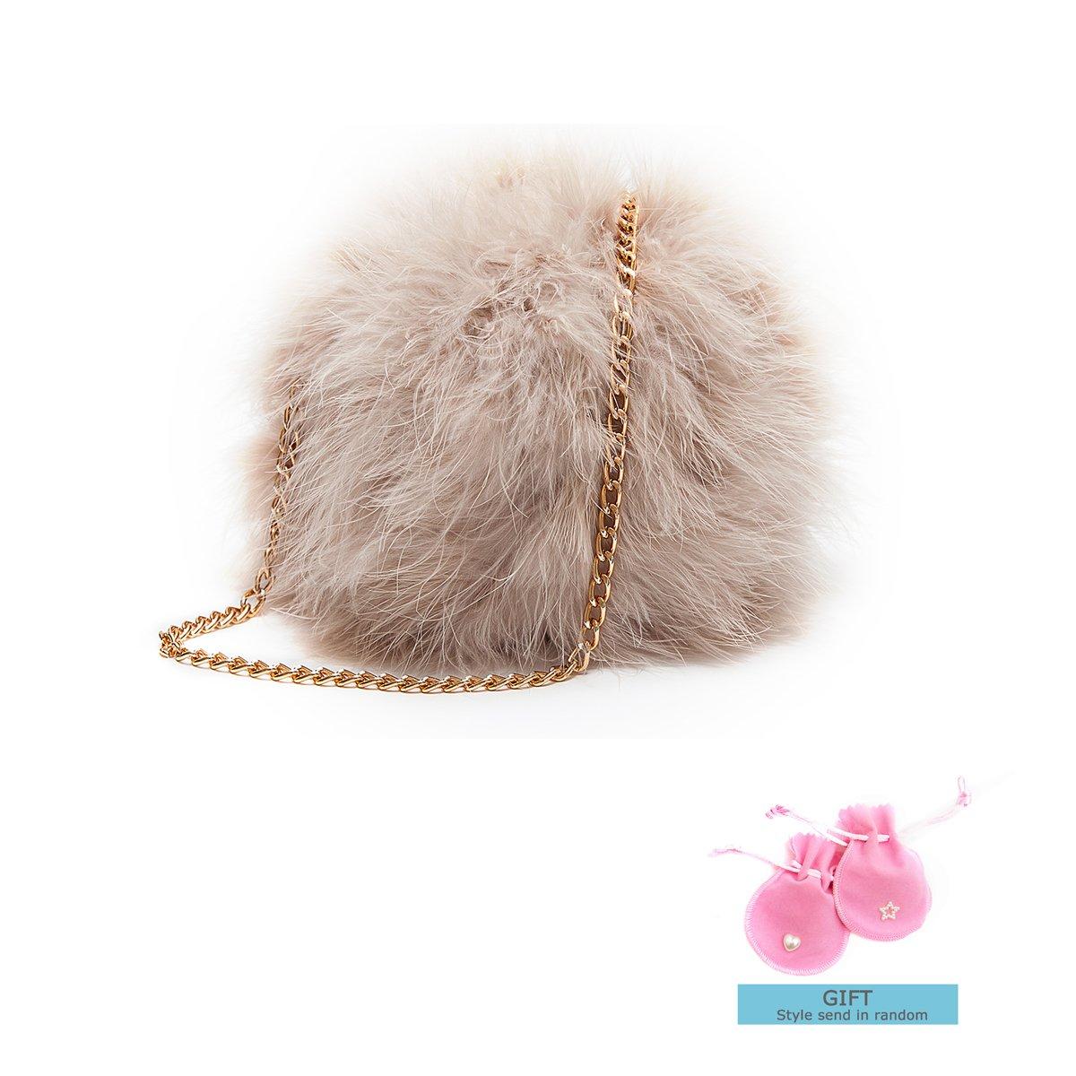 Zarapack Women\'s Genuine Fluffy Feather Fur Round Clutch Shoulder Bag (Light Pinkpurple) BA755