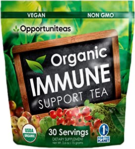 Organic Immune Support Tea - Matcha Green Tea + Rose Hip + Unripe Acerola Cherry + Camu Camu Berry - All Natural Vitamin C Booster & Superfood Drink Mix Supplement - 30 Servings