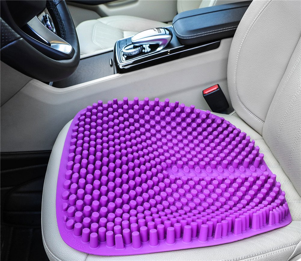 Hylaea Purple Gel Car Seat Cushion Pad For Office Chair Truck Auto Driver With Anti Slip Breathable Cool 18 By Inch
