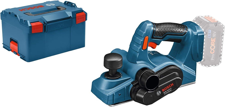 Bosch Professional GHO 18 V-LI Cepillo, rebaje 8 mm, sin batería, en L-BOXX, 72 W, Negro/Azul