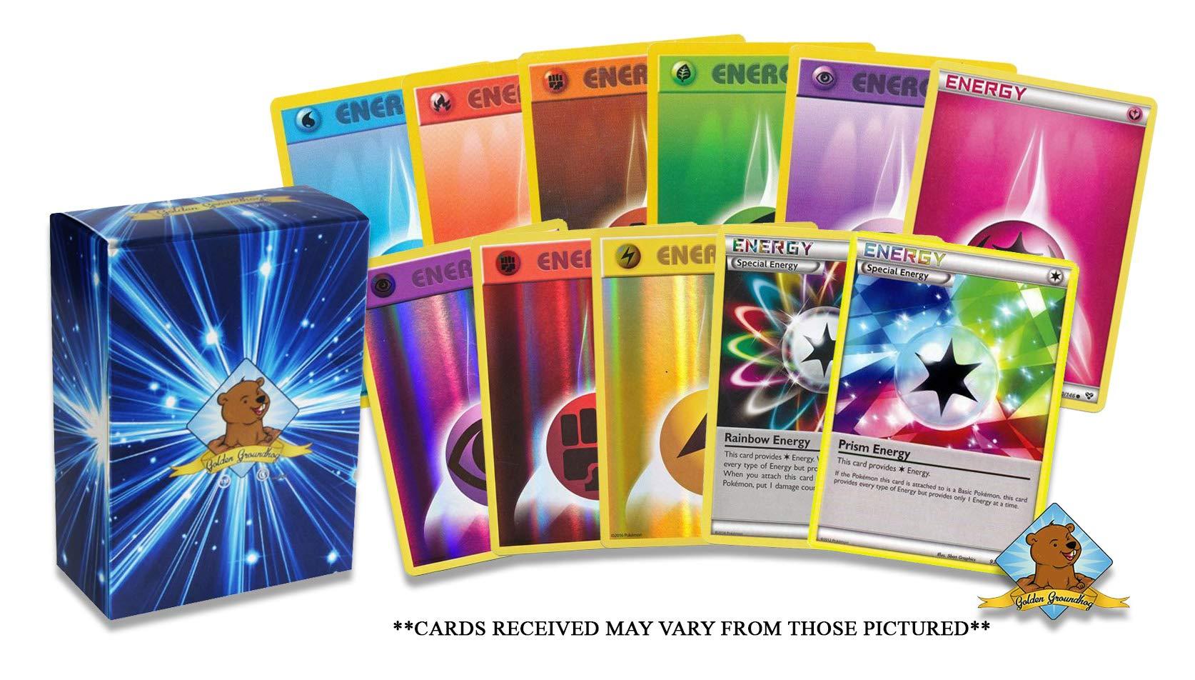 100 Pokemon Energy Cards Includes 90 Basic Energy Cards, 5 Holo Energy Cards, 5 Special Non-Basic Energy Cards! Includes Golden Groundhog Storage Box!