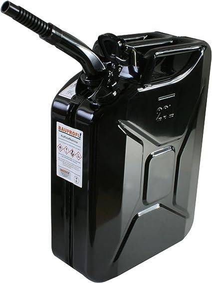 Stahlblechkanister Schwarz 20 Liter Auslaufrohr Flexibel Benzinkanister Kanister Auto