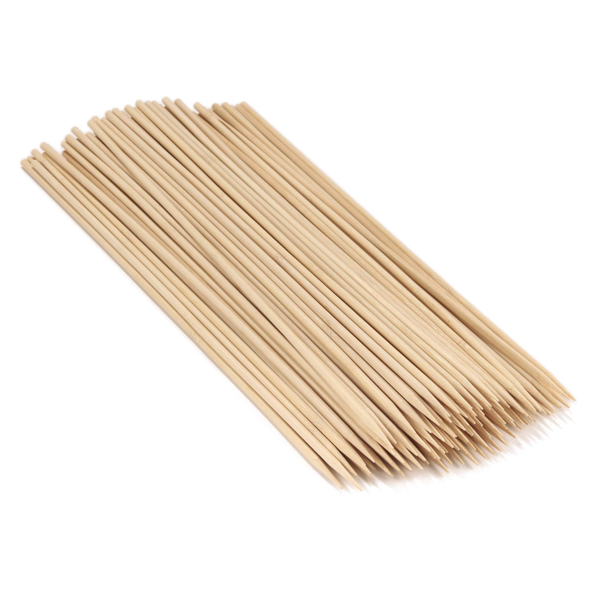 BambooMN 15'' Long x 5mm Thick Sharp Point Bamboo Kabab Satay BBQ Skewers Party Supplies, 100 Pieces