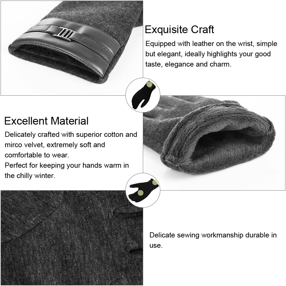 Vbiger Winter Warm Gloves Touch Screen Gloves Casual Gloves Texting Mittens for Men and Women (XL, Grey)