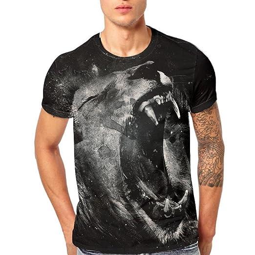 78a25e69969b Amazon.com  vermers Mens Tops Summer Fashion Lion 3D Printing Tees Casual  Short Sleeve T-Shirt  Clothing