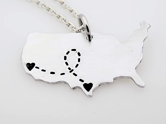 Custom Long Distance Relationship Love Best Friends Friends Keychain  Jewelry USA Map States Gift Idea Customize LDR state to state ldrship