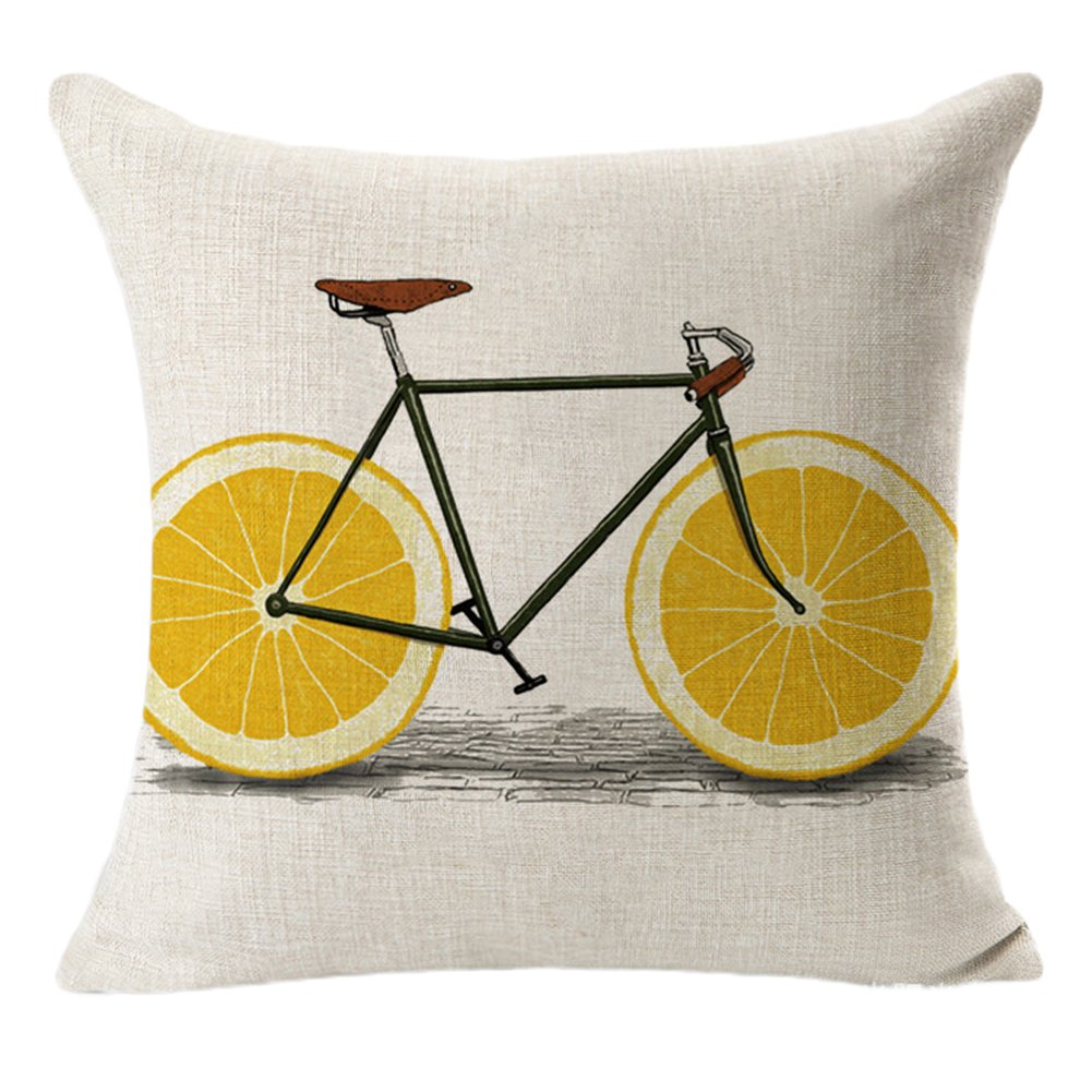 Kanggest Pillow Case Novelty Fruit Bike Pillow Cover Soft Cotton Linen Fiber Throw Pillow Cushion Cover Fashion Printed Pillow Protector Decoration for Caf/é Home Bedroom Sofa Car 45*45cm Brown