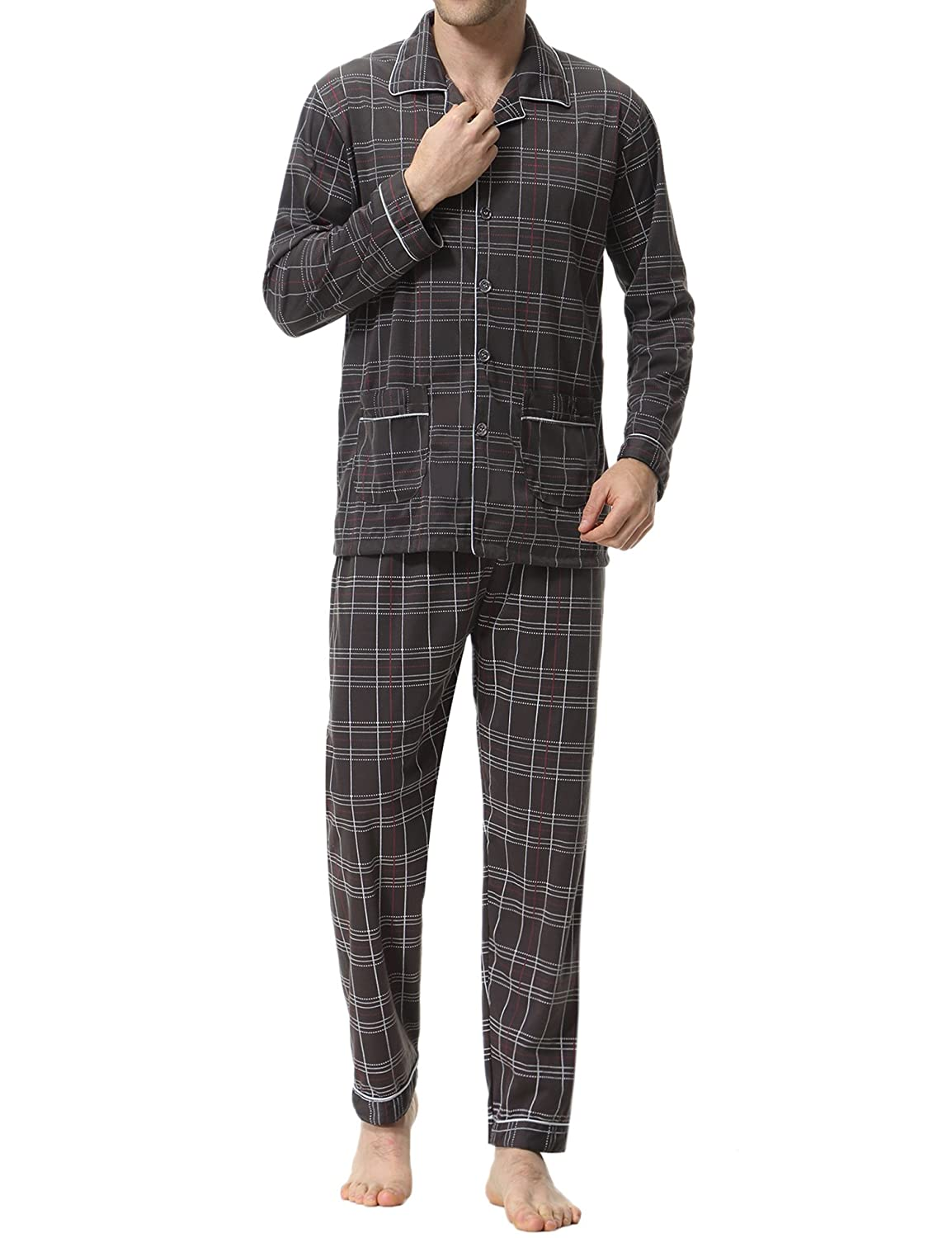 Aibrou Mens Pyjama Set, Long Sleeve Checked Cotton Top & Bottom PJS Nightwear Loungewear