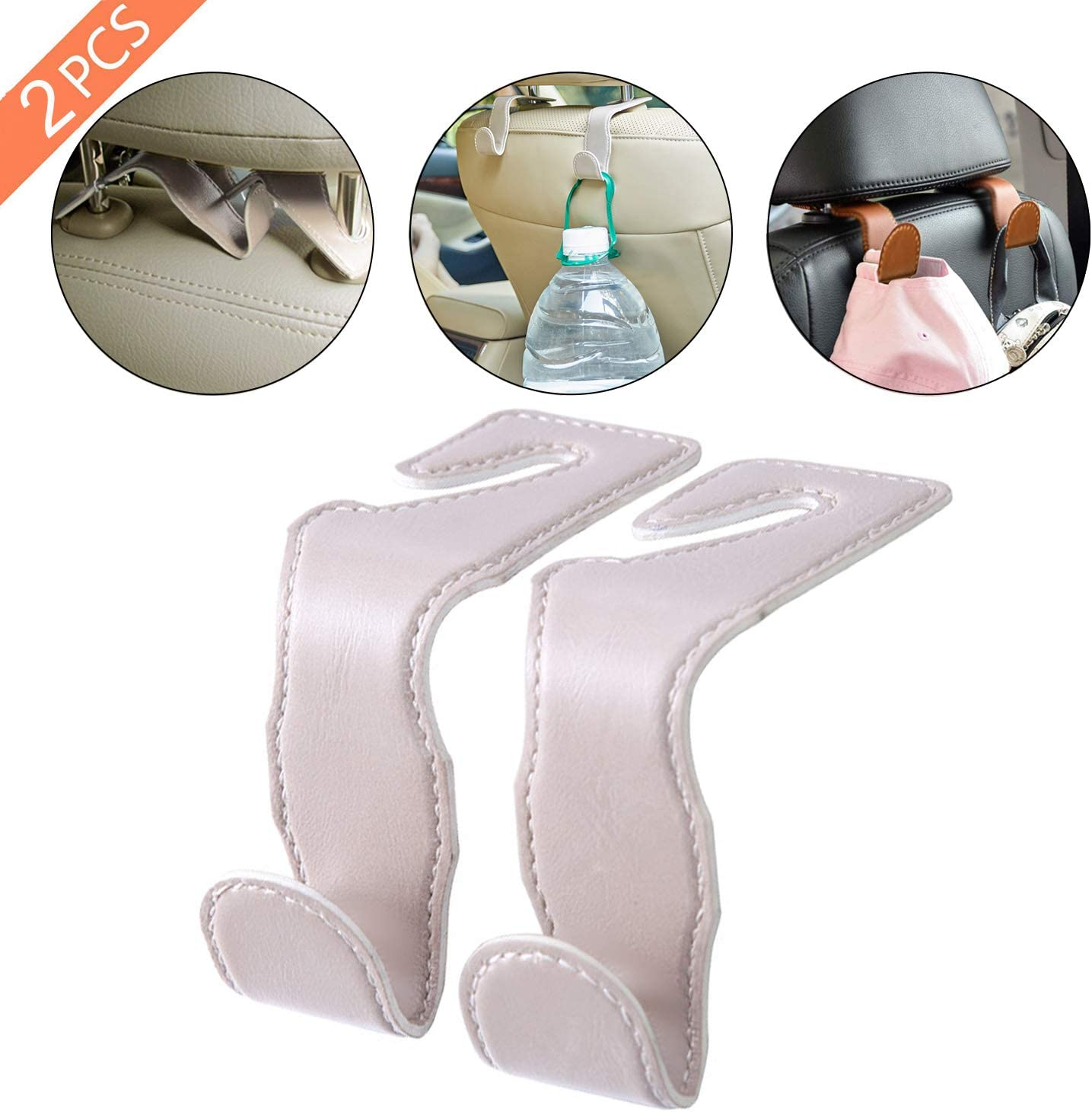 XBY Superior Leather /& Stainless Steel Car Vehicle Headrest Hooks with 44 LB Load Capacity Durable Back Seat Hangers Portable Organizer Holder for Handbag Purse Cloth Grocery white 2 Packs