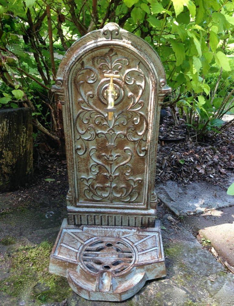 Antikas - Fuente para jardín Estilo casa de Campo Fuentes Antiguas - Fuente Decorativa con Grifo de latón: Amazon.es: Jardín