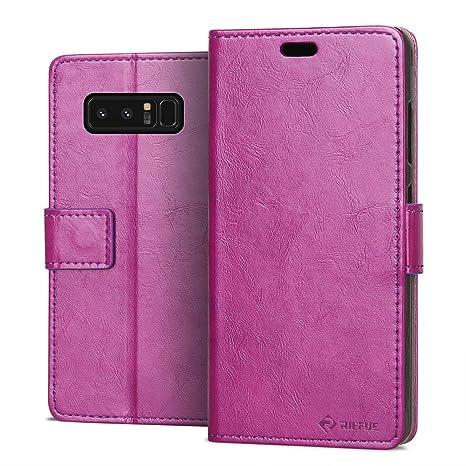 RIFFUE Funda Samsung Galaxy Note 8, Carcasa Ultrafina con Tapa Flip de Cuero Sintético +