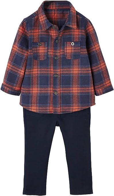 VERTBAUDET Conjunto de camisa y pantalón de sarga para bebé niño AZUL OSCURO A CUADROS 3M-60CM: Amazon.es: Bebé