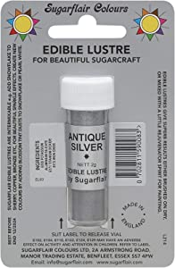 Sugarflair ANTIQUE SILVER Edible Lustre Dust Powder - Cake decorating shimmer