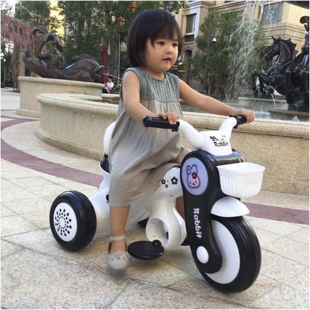 HBSC Niños Moto Triciclo Paseo En Motocicleta Juguete 3 Ruedas Coche Eléctrico Bicicleta 6V4.5A, Adecuado para 1-5 años bebé 1bicycle Regalo White