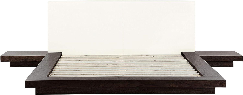 Beliani Cama Estilo japonés Madera Oscura 160x200 cm Zen