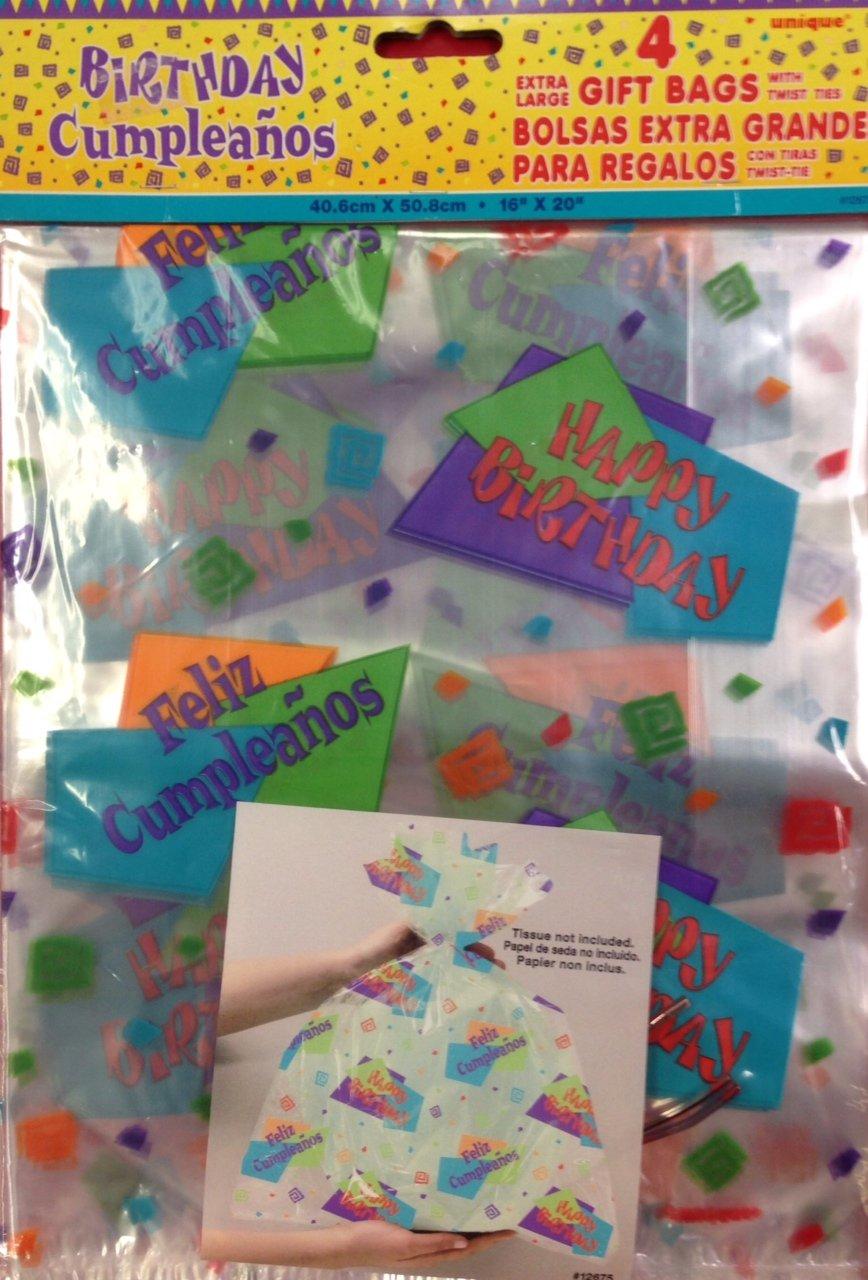 Amazon.com: Feliz cumpleaños bolsas de regalo – extragrande ...
