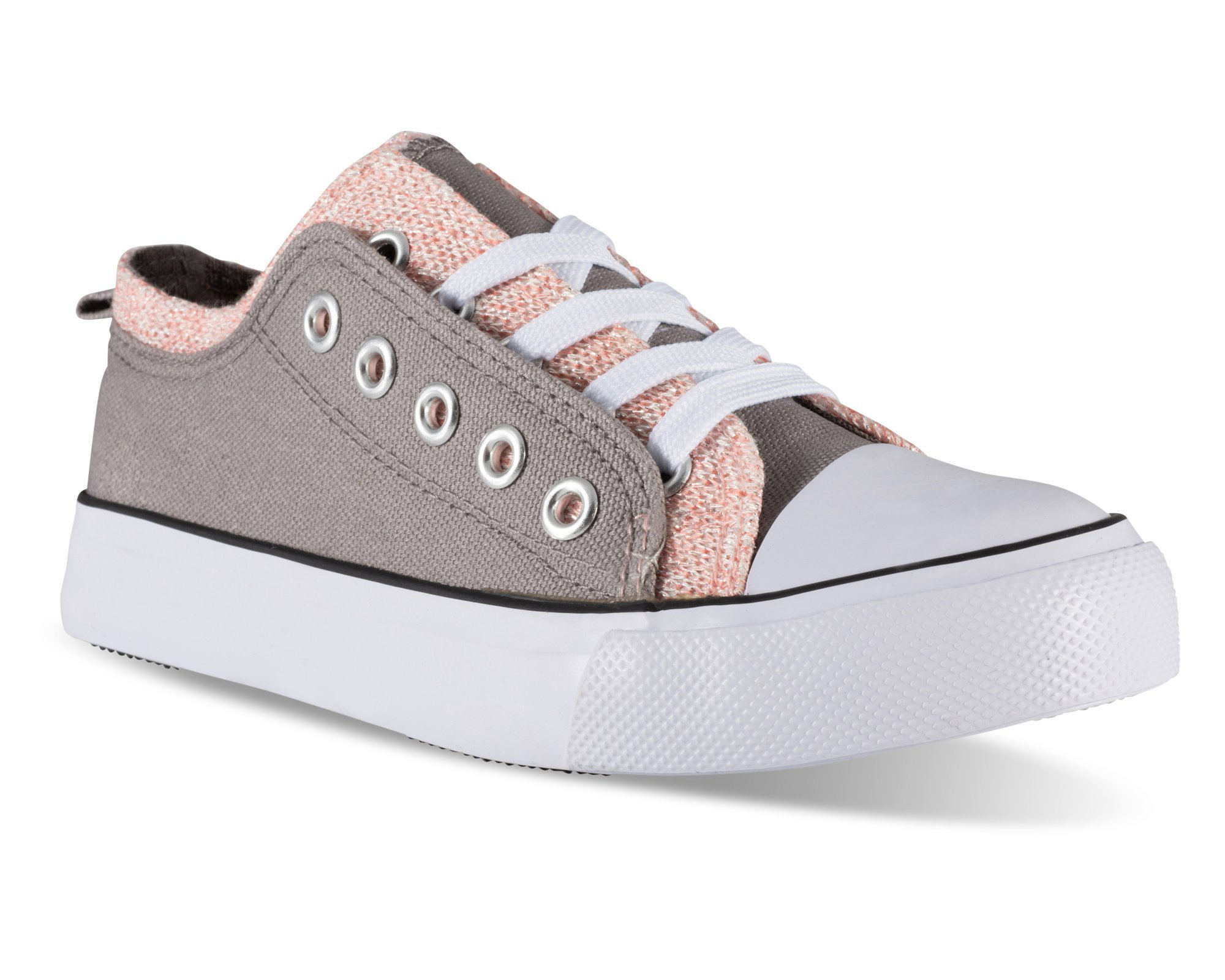 Twisted Girl's Canvas KIX Double Upper Lo-Top Sneaker - Grey/Coral, Size 4