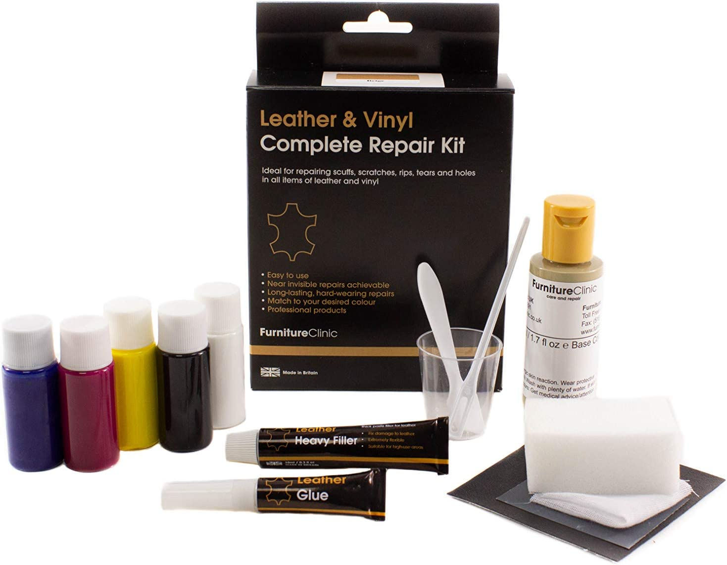 Furniture Clinic Leather & Vinyl Repair Kit - Best Leather Repair Kit for Couches, Car Seats & Furniture - Fix Damaged Vinyl, Leather - Quickly Repair Rips, Holes, Tears & Burns - Easy to Use (Black)