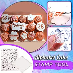 Alphabet Cake Stamp Tool, Food-Grade Alphabet Biscuit Fondant Cake/Cookie Stamp Mold Set, Creative Unique Letter Shape DIY Biscuit Mold, Reusable and Easy to Clean (1pcs Stamp Tool+1 Stamping Board)