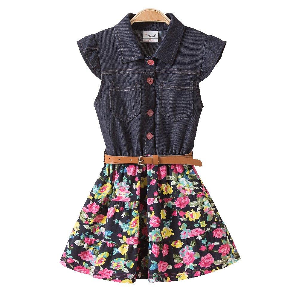 JUXINSU Girl Sleeveless Denim Dresses for Summer Baby Kids Cotton Flower Skirt 3-8 Years SH2168 (8T, Navy)
