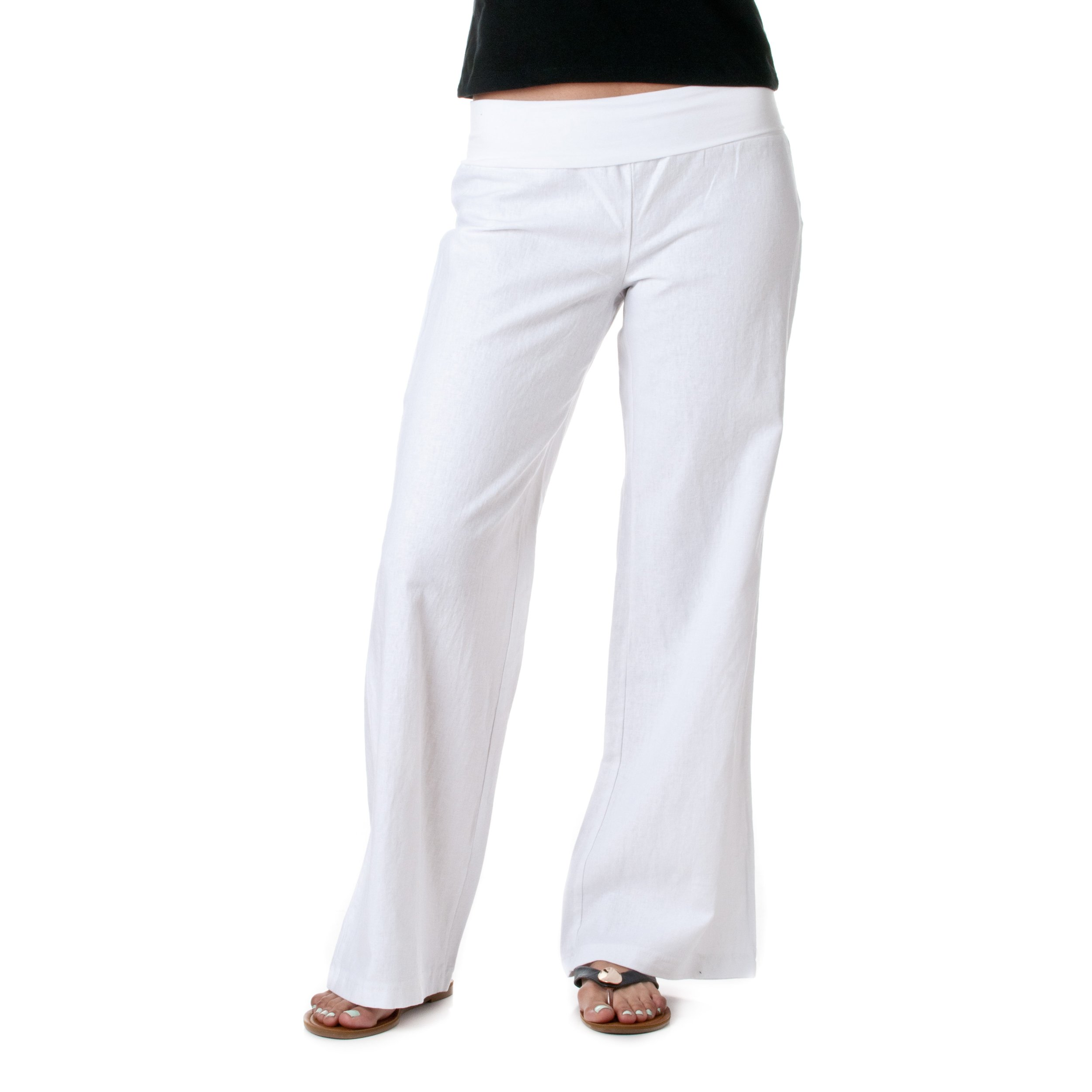 Love Tree Women's Fold-Over Waist Linen Pants, White, 1X