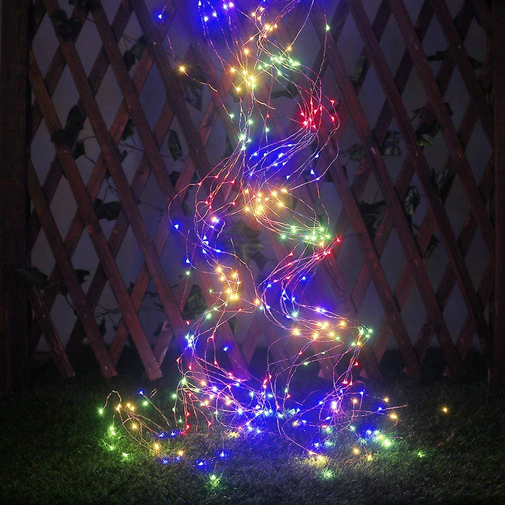 Xingpold Solar String Lights Multicolored Fairy Lights,10 Strands 200 LEDs Waterproof Solar Vine Lights Outdoor Decorative Waterfall Lights Solar Christmas Lights for Patio Garden Christmas Tree Décor