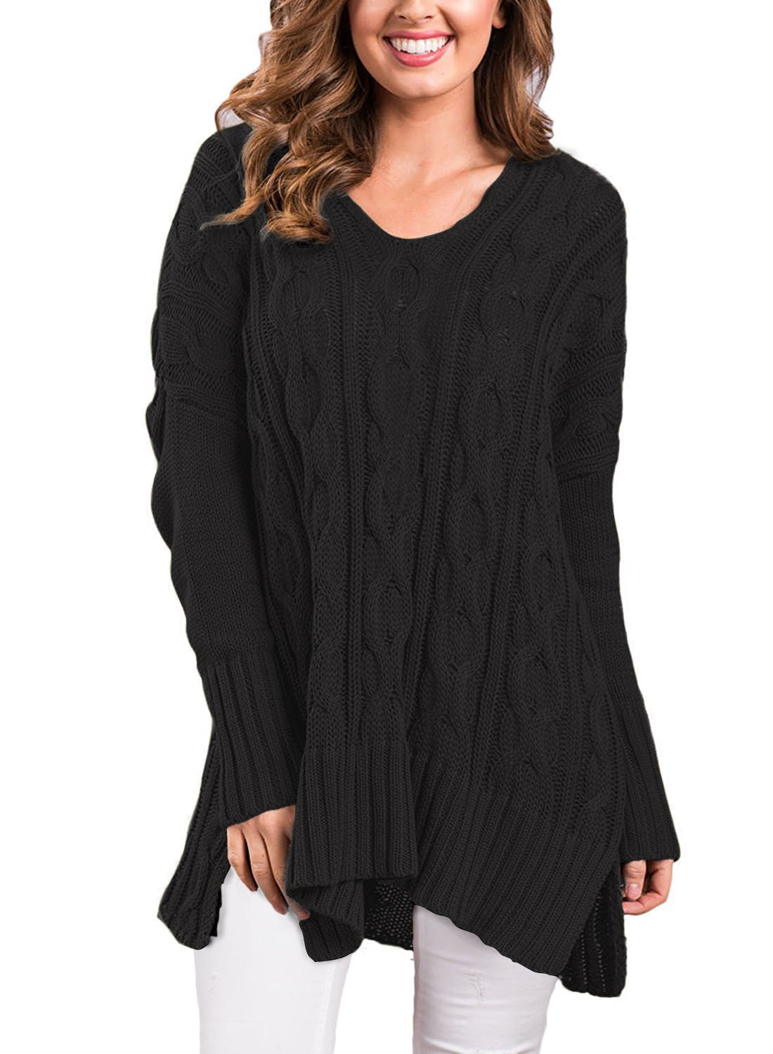 VERABENDI Women Casual V Neck Loose Fit Knit Sweater Pullover Top Black XL