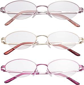 LianSan Metal Reading Glasses Women Reading Eyeglasses Half Frame Readers Glasses L731 (+1.50, 3 Pairs)