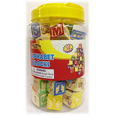Homeware 35 Piece ABC Stack N' Build Wood Blocks in a Bucket Set: Toys & Games